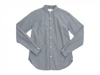 blanc round collar school shirts BLACK GIMGHAM