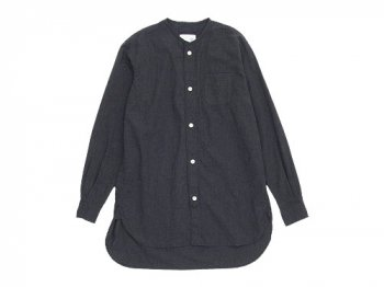blanc no collar long shirts TOP BLACK