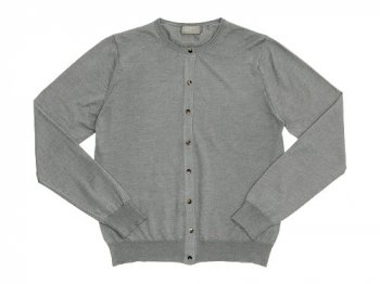 MARGARET HOWELL COTTON RAMIE CASHMERE CREW NECK CARDIGAN 022LIGHT GRAY〔レディース〕