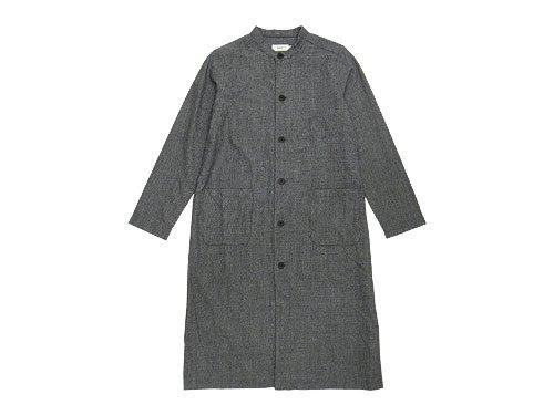 RINEN 2/48ウール綾織 千鳥 スタンドカラーロングシャツ 01オフ x クロ〔レディース〕