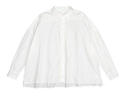 TOUJOURS Fly Front Square Collar Wide Shirts WHITE