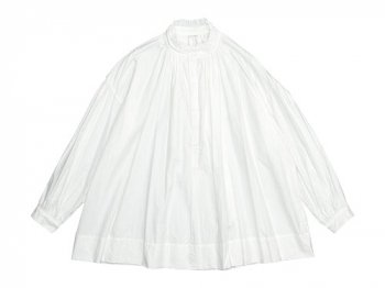 TOUJOURS Frill Collar Surplice Shirt WHITE