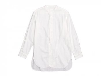 TOUJOURS Band Collar Long Shirt WHITE