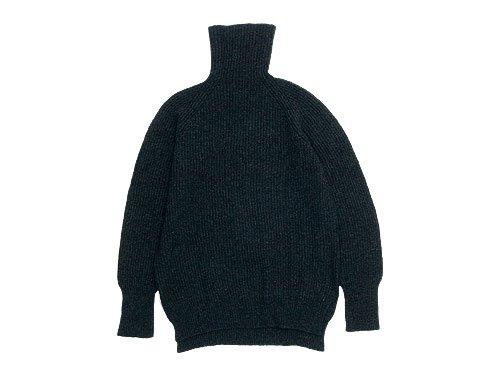 TOUJOURS Rib Stitch Turtle Neck Slit Pullover / Fringe Stole