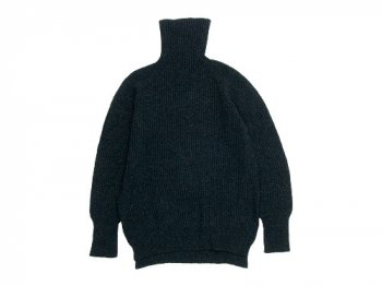 TOUJOURS Rib Stitch Turtle Neck Slit Pullover CHARCOAL