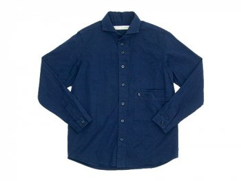 nisica ワイドカラーシャツジャケット コットン NAVY