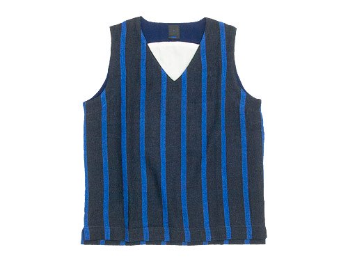 maillot linen wool pull vest STRIPE NAVY x BLUE