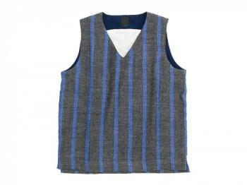 【別注】 maillot linen wool pull vest STRIPE GRAY x BLUE