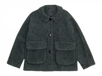 Lin francais d'antan Clouet(クルーエ) Round Collar Jacket Wool&Alpaca GRAY