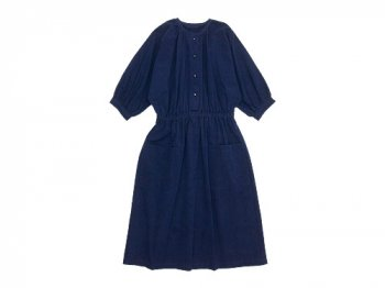 Lin francais d'antan Meurent(ムーラン) dolman gathered one-piece NAVY