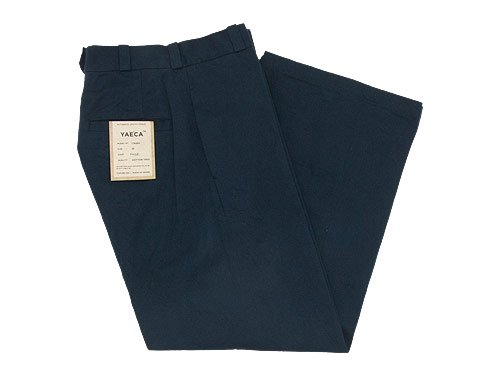 YAECA CHINO CLOTH PANTS WIDE NAVY 〔レディース〕