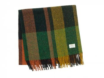 Studio Donegal TWEED MUFFLER DARK GREEN x ORANGE G