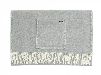 maillot wool cashmere shawl blanket LIGHT GRAY