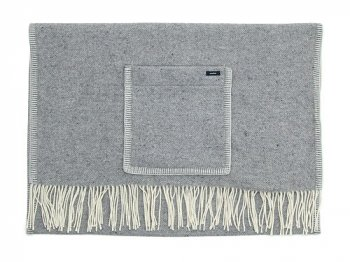 maillot wool herringbone shawl blanket LIGHT GRAY