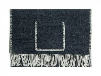 maillot wool herringbone shawl blanket BLACK