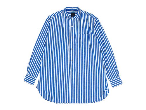 maillot wide stripe stand long shirts WHITE x BLUE