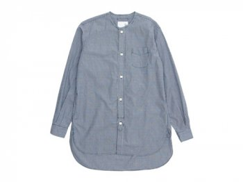 blanc no collar long shirts BLACK GINGHAM