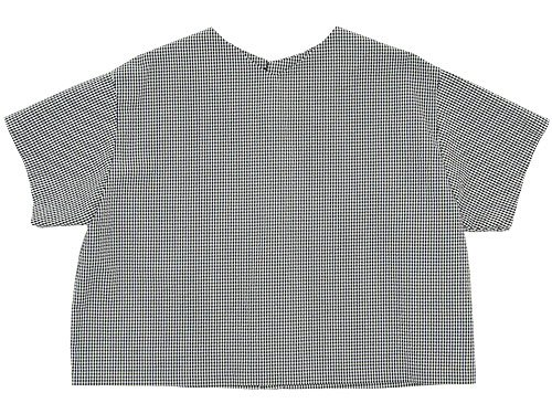 Lin francais d'antan Arnaud Half Sleeve Button Blouse WHITE x BLACK CHECK