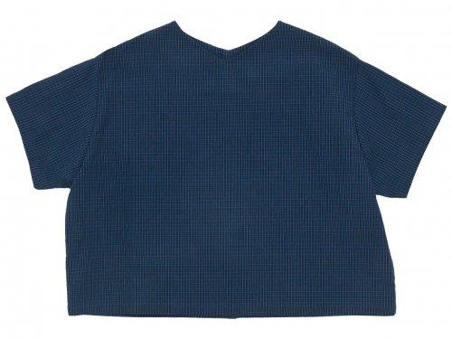 Lin francais d'antan Arnaud(アルノー) Half Sleeve Button Blouse NAVY x BLACK CHECK
