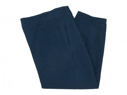Lin francais d'antan Barouh Easy Pants NAVY x BLACK CHECK