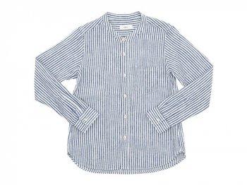 RINEN 80/1リネン平織 スタンドカラーシャツ 72シロ x ネイビー 〔レディース〕