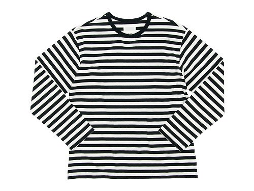 THE HINOKI オーガニックコットン 長袖ボーダーTシャツ WHITE x BLACK
