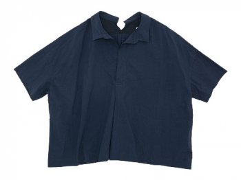 TOUJOURS Open Back Yolk Skipper Shirt SMOKE NAVY