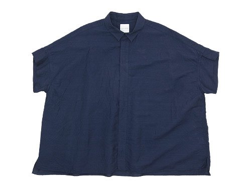 TOUJOURS Short Sleeve Wide Shirt NAVY