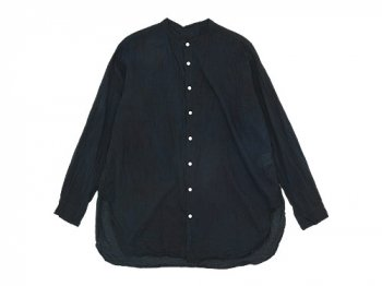 TOUJOURS Oversized Band Collar Shirt BLACK INDIGO