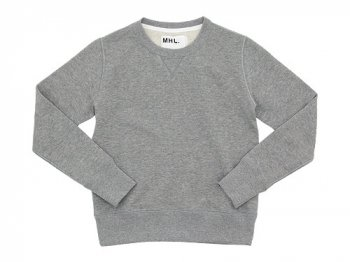 MHL. LIGHT LOOPBACK COTTON CREW NECK 020GRAY 〔レディース〕