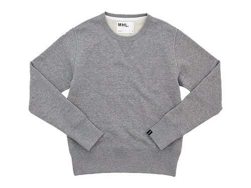 MHL. LIGHT LOOPBACK COTTON CREW NECK 020GRAY 〔メンズ〕