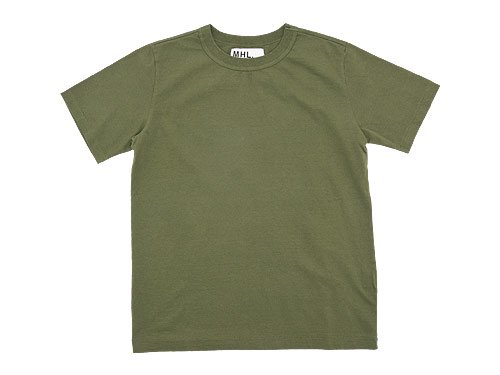 MHL. PLAIN ROUGH JERSEY T 180OLIVE〔メンズ〕