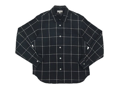 MARGARET HOWELL OVERSIZE CHECK LINEN SHIRTS 010BLACK 〔メンズ〕