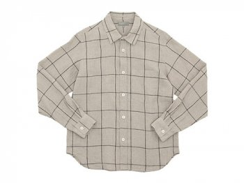 MARGARET HOWELL OVERSIZE CHECK LINEN SHIRTS 042BEIGE 〔メンズ〕