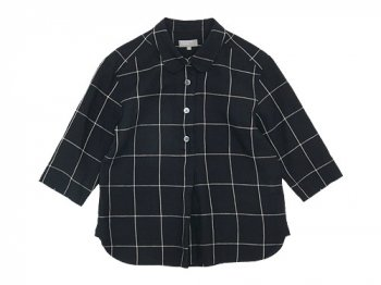 MARGARET HOWELL OVERSIZE CHECK LINEN P/O SHIRTS 010BLACK 〔レディース〕