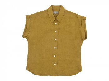 MARGARET HOWELL SHIRTING LINEN II CUFFED COLLARED SHIRTS 063MUSTARD 〔レディース〕