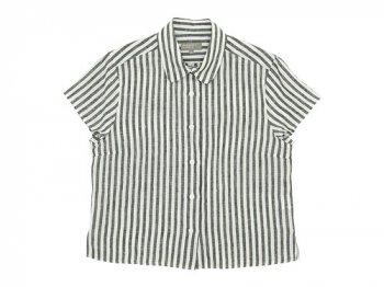 MARGARET HOWELL BLACK&WHITE SHIRTING LINEN S/S SHIRTS