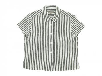 MARGARET HOWELL BLACK&WHITE SHIRTING LINEN S/S SHIRTS 280STRIPE〔レディース〕