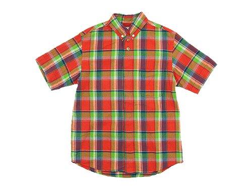 nisica ボタンダウンシャツ 半袖 チェック ORANGE CHECK
