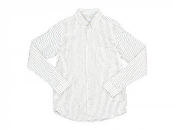 nisicamokusiro 長袖ボタンダウンシャツ リネン シロ x モクグレー