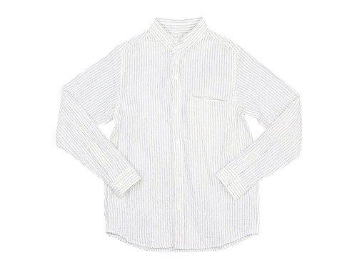 nisicamokusiro 長袖スモールスタンドシャツ リネン シロ x モクグレー