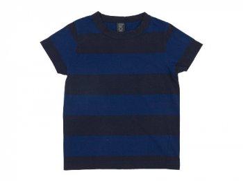 homspun 30/1天竺太ボーダー 半袖Tシャツ ブルー x ネイビー