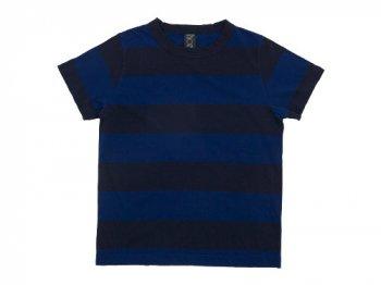 homspun 30/1天竺太ボーダー 半袖Tシャツ ブルー x ネイビー 〔メンズ〕