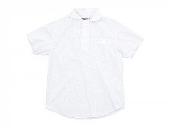 LOLO コットン半袖プルオーバーシャツ ミニグラフチェック WHITE x NAVY