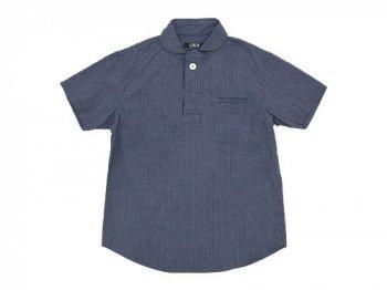 LOLO コットン半袖プルオーバーシャツ ミニグラフチェック NAVY x WHITE