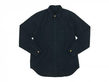 THE HINOKI リネンコットン ウッドボタンワークシャツ NAVY