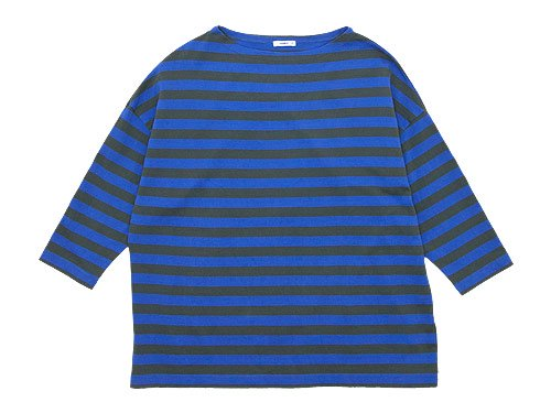 maillot border drop shoulder T-shirt CHARCOAL x BLUE