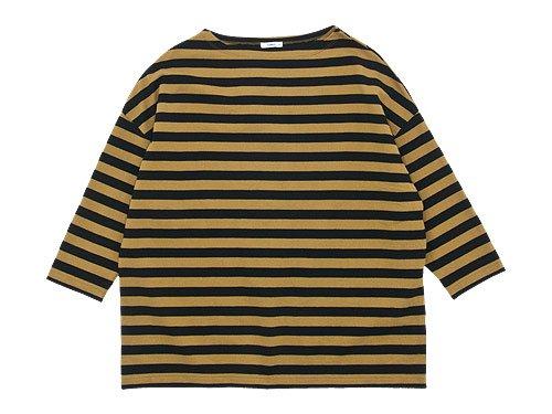 maillot border drop shoulder T-shirt CAMEL x BLACK