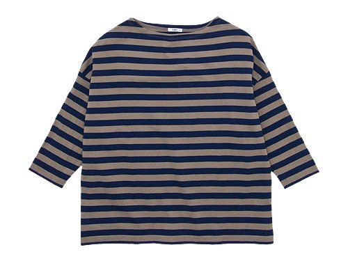 maillot border drop shoulder T-shirt BEIGE x NAVY