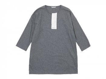 TOUJOURS Big Henley Neck Shirt LIGHT GRAY